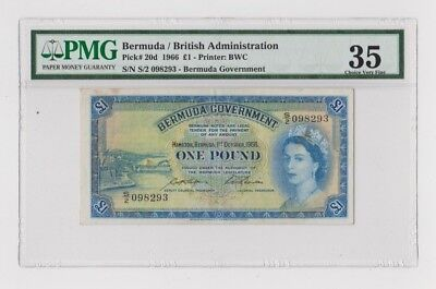 1966 Bermuda Government One Pound Note PMG Graded 35 Choice Very Fine