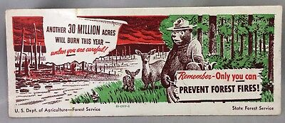 1949 SMOKEY BEAR Prevent FOREST FIRES Advertising Ink Blotter Vintage Original