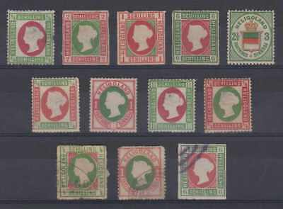 Bc Heligoland 1867-88 Qv & Coat Of Arms Group Of 12 Reprints Or Forgeries Shades