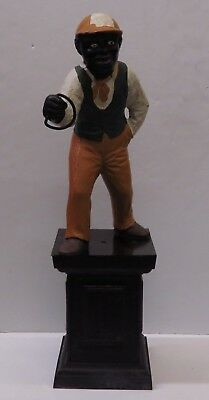 "1860-1899 Antique Cast Iron Lawn Jockey Jocko Graves Faithful Groomsman (38"")"
