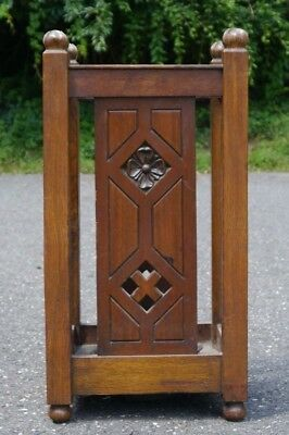 ANTIQUE Arts & Crafts Mission Oak Umbrella Stand CARVED FLOWERS Cut out LIMBERT?