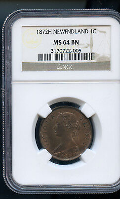1872 H Newfoundland Large Cent  ANACS Certified MS64 BN DCD59