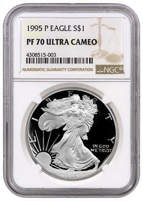1995-P NGC PF70 Proof American Silver Eagle Silver One Dollar Coin