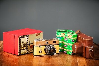 Boxed Gold Painted Fed - 3 35Mm Rangefinder Camera W/ 6 Rolls Of Film And Case!