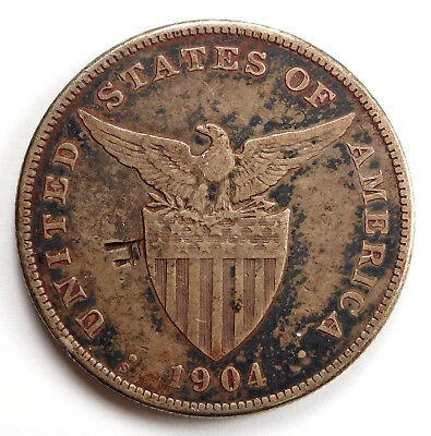 1904 Philippines 1 Peso - Chop Marks