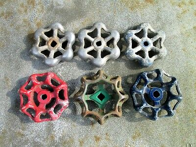 6 Vintage Metal Turn Knob Faucet Water Head Nozzle Steampunk Lot red green blue