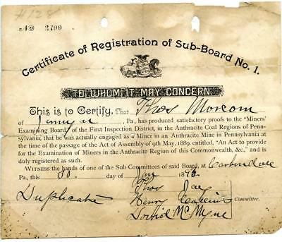 1892 Anthracite Coal Miner Certificate of Competency Carbondale Pennsylvania #2