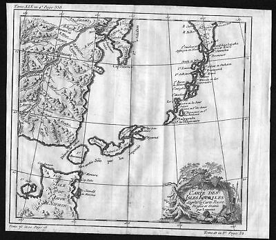 1750 Kuril Islands Japan Nippon Hokkaido Russia map Kupferstich engraving Bellin