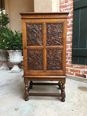 Antique English Carved Tiger Oak Music File Cabinet BARLEY TWIST Office Table