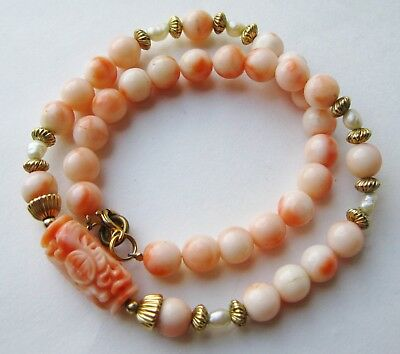 Fine Old Chinese Carved Pink Coral Gold Filled Beaded Necklace