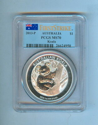 2013-P AUSTRALIA KOALA $1 DOLLAR 1oz .999 SILVER FIRST STRIKE - NGC - MS70