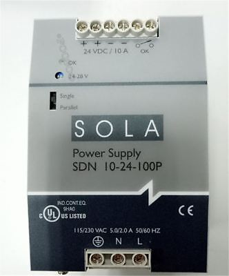 1Pc Used Sola Switching Power Sdn 10-24-100P DC24V 10A Tested ac