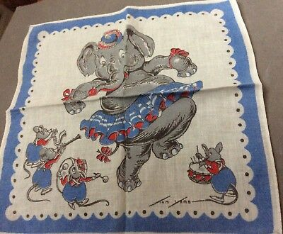 VINTAGE CHILD HANKIE HANDKERCHIEF CIRCUS ELEPHANT and MICE BAND SIGNED TOM LAMB