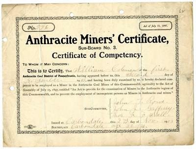 1903 Anthracite Coal Miner Certificate of Competency Carbondale Pennsylvania