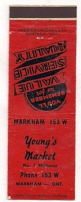 Young's Market, No. 7 Highway, Markham ON Ontario Matchcover 070318