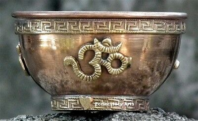 OM Copper Bowl, Offering Bowl-Incense-Smudge-Resin Burner- Censer-Cauldron