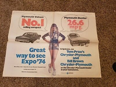 1974 Plymouth Duster,valiant/great Way To See Expo 74 Newspaper Ad