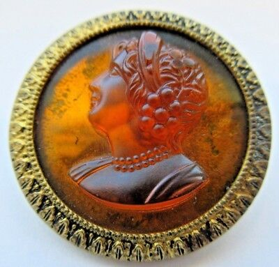 Most Magnificent LARGE Antique Amber GLASS in Metal BUTTON Ladies Head (E20)