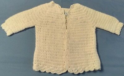 Vintage Hand Made In Japan Off White Infant Sweater For Baby Girl Or Doll