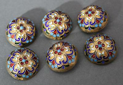 6 Antique Hallmarked Russian Silver, Gold, Enamel Clothing Buttons, NR