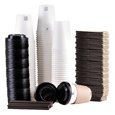 Luckypack Disposable Coffee Cups To Go with Travel Lids Sleeves and Straws 100%