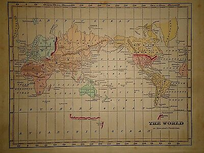 Antique 1856 Hand Colored ~ WORLD MAP ~ Authentic Vintage 160 Year Old Document