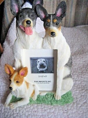 """E & S Imports Rat Terrier Dog Photo Picture Frame 3-1/2"""" X 5"""" NEW w/o box"""