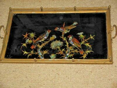 Birds with Mother Of Pearl Inlay Under Glass Wood & Brass Hand Made Tray 51x31cm