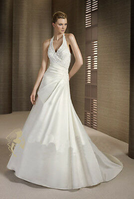 B1985 Custom Off White Satin Simple Halter Sexy Wedding Long Dress All Size O