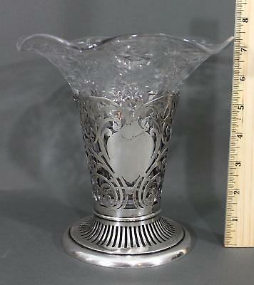 Antique 19thC Cut Glass Flower Vase,  Watson Co. Sterling Silver Open Work Base
