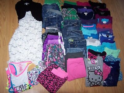 Girls Used Summer/Fall BTS Clothing Size 10/12/14 Lot of 50 Items