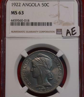 1922 Angola 50 Centavos Coin NGC Graded MS 63