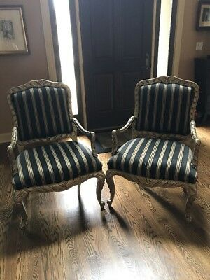 Set Pair 2 Robb & Stucky Bergere Gold Leaf Arm Chairs
