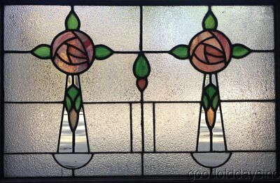 """Antique 1 of 2 1920's Chicago Stained Leaded Glass Window 32"""" by 23"""" Transom"""