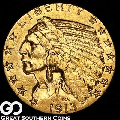 1913-S Half Eagle, $5 Gold Indian, Nice BU++ Better Date ** Free Shipping!