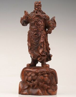 Rare Chinese boxwood statue old hand-carved guan gong hero folk sacrifice