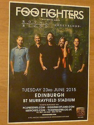 Foo Fighters, Royal Blood, Honeyblood  Edinburgh 2015 concert tour gig poster