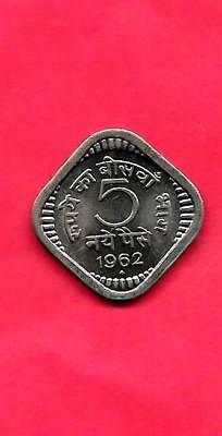 India Indian Km16 1962-B Unc-Uncirculated Mint 5 Naye Paise Coin
