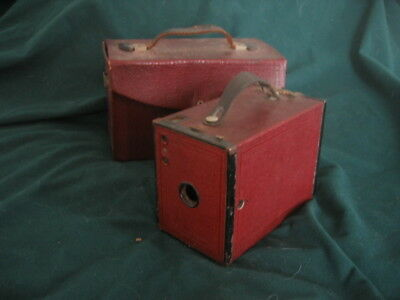 Rare Vintage Kodak No. 2 Brownie in Burgundy Red Colour With Case