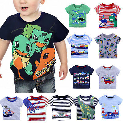 Kids Boys Short Sleeve T shirts Cartoon Cotton Basic Tee Dinosaur Tops Outfit AU