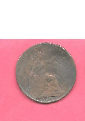 Great Britain Gb Uk Km790 1900 Ag-Nice Old Antique Vintage Bronze Penny Coin