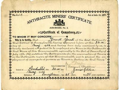 1904 Anthracite Coal Miner Certificate of Competency Archbald Pennsylvania