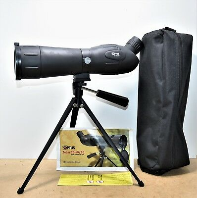 Optus spotting scope 20-60x60 including table tripod and case unused perfect