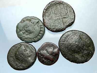 AUTHENTIC Ancient 400BC-250AD GREEK - 5 COINS Group Lot KIT Collection i68894