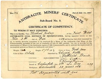 1909 Anthracite Coal Miner Certificate of Competency Carbondale Pennsylvania