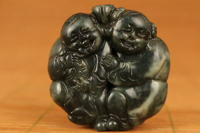 Chinese Old Jade Handmade Carved Favorite Statue Pendant noble gift