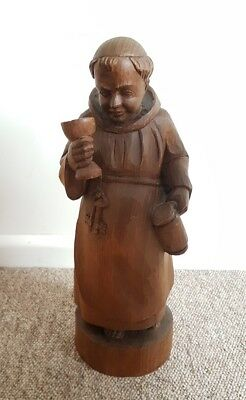 Antique Carved German Wooden Drinking Monk Shop Display Trading Post Mancave