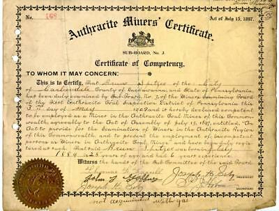 1909 Anthracite Coal Miner Certificate of Competency Carbondale Pennsylvania #3