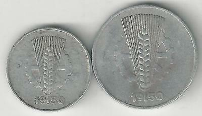 2 OLDER COINS from EAST GERMANY - 1 & 10 PFENNIGS (BOTH DATING 1950)