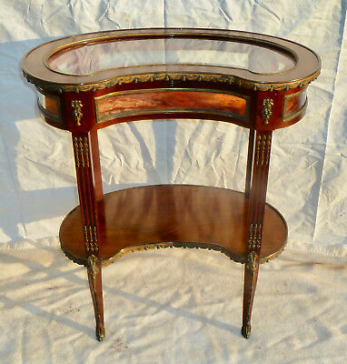 Antique French  Bijouterie jewellery curio display cabinet table 1800s Empire